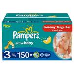 Plienky Pampers Active baby Mega box 3 Midi 150 ks