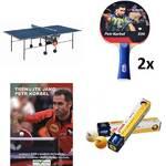 Set stůl Butterfly Korbel Roller se síťkou modrý, vnitřní + 2x pingpongová pálka Petr Korbel 500 + pingpongové míčky YOUTH, bílé + naučné DVD Trénuj jako Petr Korbel