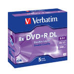 Disk Verbatim DVD+R DualLayer, 8,5GB, 8x jewel box, 5ks (43541)