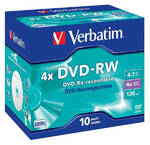 Disk Verbatim DVD-RW 4.7GB, 4x, jewel box, 10ks (43486)