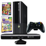 Microsoft Xbox 360 4GB SVB + 2 x hra (Kinect Sports Ultimate + Kinect Adventures) (N7V-00113) černá