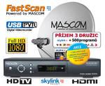 Satelitný komplet Mascom MC2600/80M3+karta Skylink Standart M7, příjem tří družic čierny