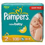 Plienky Pampers New baby New Baby vel. 2, 108 ks