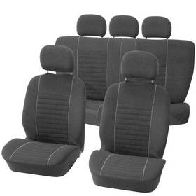 Potahy sedadel Carpoint na celé vozidlo 9 dílů - Velours černé / šedé