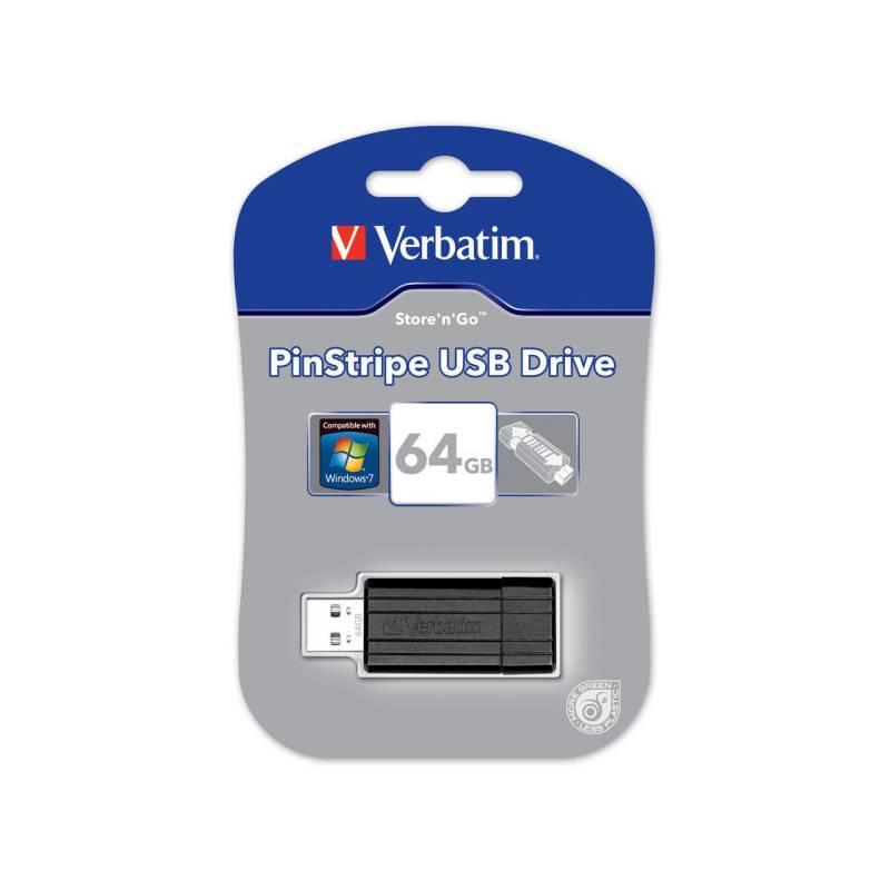 USB flash disk Verbatim Store 'n' Go PinStripe 64GB (49065) čierny