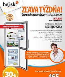 Veľká nerezová chladnička AEG za 465 €! Využite šrotovné až 200 €