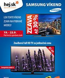 Iba tento víkend zľava až 30 % na vybrané TV Samsung a doprava zadarmo!