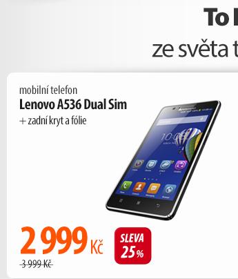 Mobilní telefon Lenovo A536 Dual Sim + zadní kryt a fólie (P0R6001CCZ) černý