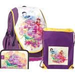 Zestaw szkolny Sun Ce SunCe Disney Wróżka Dzwoneczek - plecak, piórnik, torba na kapcie Żółty/Purpurowy