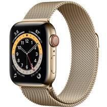 Chytré hodinky Apple Watch Series 6 GPS + Cellular, 44mm zlaté pouzdro z nerezové oceli - zlatý milánský tah (M09G3HC/A)