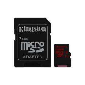 Kingston MicroSDHC 64GB UHS-I U3 (90R/80W) + adapter (SDCA3/64GB)