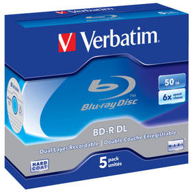 Verbatim BD-R DualLayer 50GB, 6x, jewel, 5ks (43748)