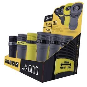 LED svítilna plastová, 1x LED 3W, na 3x AAA, FOKUS, box 12ks