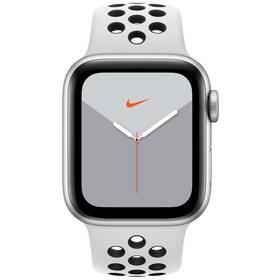 Apple Watch Nike Series 5 GPS 40mm pouzdro ze stříbrného hliníku - platinový/černý sportovní řemínek Nike SK (MX3R2VR/A)