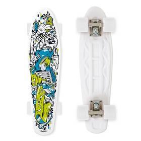 """Street Surfing Fuel Board Skelectron 21,6"""" x 6,1"""" bílý/modrý/zelený + Reflexní sada 2 SportTeam (pásek, přívěsek, samolepky) - zelené v hodnotě 58 Kč + Doprava zdarma"""