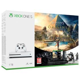 Microsoft Xbox One S 1 TB + Assassin's Creed: Origins + Rainbow Six: Siege; 14 denní Xbox LIVE GOLD (234-00235)
