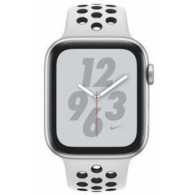 Apple Watch Nike+ Series 4 GPS 44mm pouzdro ze stříbrného hliníku - platinový/černý sportovní řemínek Nike (MU6K2HC/A)