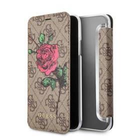 Guess 4G Flower Desire Book Pouzdro pro iPhone X (GUFLBKPX4GROB) hnědé