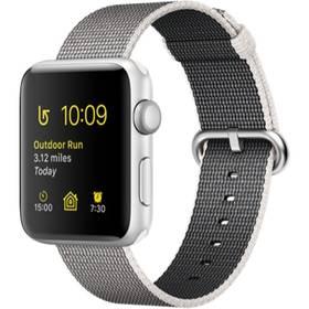 Apple Watch Series 2 42mm pouzdro ze stříbrného hliníku – perlově šedý řemínek z tkaného nylonu (MNPK2CN/A) + Doprava zdarma