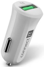 Connect IT InCarz, 1x USB (3A), s funkcí rychlonabíjení QC 3.0 (CCC-5010-WH) bílá
