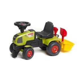 FALK - traktor Claas Axos 310 s volantem a přívěsným košem plast + Reflexní sada 2 SportTeam (pásek, přívěsek, samolepky) - zelené v hodnotě 58 Kč