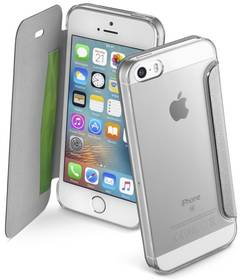 Puzdro na mobil flipové CellularLine Clear Book pro Apple iPhone 5/5s/SE (CLEARBOOKIPH5S) strieborné