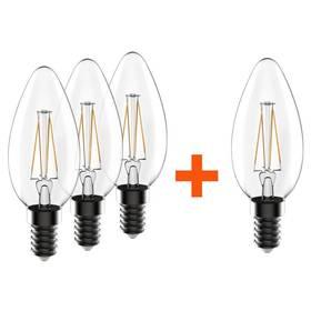 SADA 3 + 1 zdarma LED Žárovek Tesla Crystal Retro svíčka, 3,2W, E14, teplá bílá