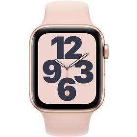 Apple Watch SE GPS 44mm pouzdro ze zlatého hliníku - pískově růžový sportovní náramek (MYDR2HC/A)