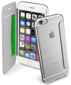 Puzdro na mobil flipové CellularLine Clear Book pro Apple iPhone 6/6s (CLEARBOOKIPH647S) strieborné