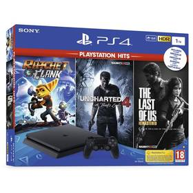 Sony PlayStation 4 SLIM 1TB + The Last Of Us +Uncharted 4 + Ratchet & Clank (PS719719519) černý + Doprava zdarma
