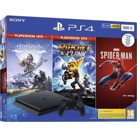 Sony PlayStation 4 500 GB + Marvel's Spider-Man + Horizon Zero Dawn + Ratchet & Clank (PS719391708)