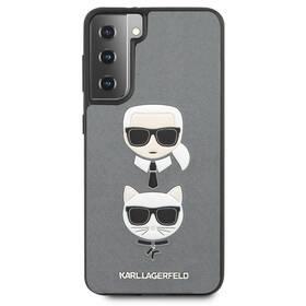 Karl Lagerfeld Saffiano K&C Heads na Samsung Galaxy S21+ 5G (KLHCS21MSAKICKCSL) strieborný