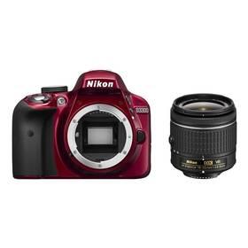 Nikon D3300 + AF-P 18-55 VR červený + Doprava zdarma