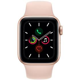Chytré hodinky Apple Watch Series 5 GPS 40mm pouzdro ze zlatého hliníku - pískově růžový sportovní řemínek (MWV72HC/A)