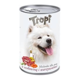 Tropi De Lux Dog kousky v konzervě s příchutí hovězího a zeleniny 400g