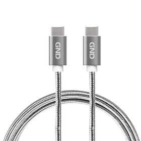 GND USB-C/USB-C 3.1, PD, 2m, opletený (USBCC200MM01) sivý