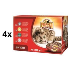 Propesko kočka kuře + hovězí + zvěřina + jehně 4 x (12 x 100g)