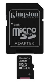 Pamäťová karta Kingston MicroSDHC 32GB Class4  + adapter (SDC4/32GB)