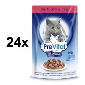PreVital Premium hovězí a králičí v omáčce 24 x 100g