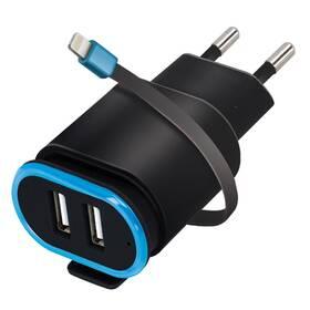 Forever TC-02, 2x USB, lightning kabel (ATC2USB24ALKBKTFO) čierna