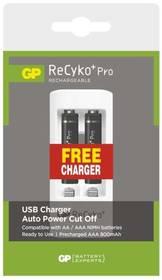 GP ReCyko+ Pro AAA, HR6, 800mAh, Ni-MH, krabička 2ks + USB nabíječka (1604621100) černá