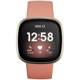 Chytré hodinky Fitbit Versa 3 - Pink Clay/Soft Gold Aluminum (FB511GLPK)