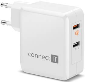 Connect IT 2x USB (3,4A), s funkcí rychlonabíjení QC 3.0 (CWC-3010-WH) bílá + Doprava zdarma