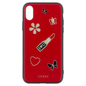 Guess Iconic Case pro iPhone X (GUHCPXACLSRE) červený