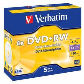 Verbatim DVD+RW 4,7GB, 4x, jewel box, 5ks (43229)