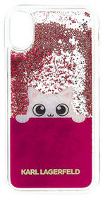Karl Lagerfeld Peek and Boo Liquid Glitter pro iPhone X (KLHCPXPABGFU) fialový/průhledný