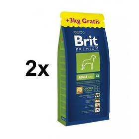 Brit Premium Dog Adult XL 2 x (15 kg + 3 kg ZDARMA) + Doprava zdarma