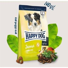 HAPPY DOG Junior Lamb & Rice 10 kg Konzerva HAPPY DOG Rind Pur - 100% hovězí maso 200 g (zdarma) + Doprava zdarma