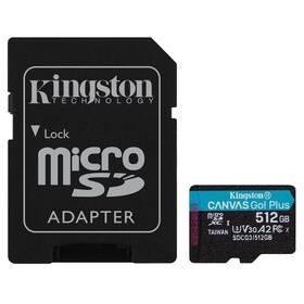 Kingston Canvas Go! Plus MicroSDXC 512GB UHS-I U3 (170R/90W) + adaptér (SDCG3/512GB)