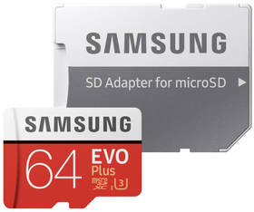 Samsung Micro SDXC EVO+ 64GB UHS-I U3 (100R/60W) + adapter (MB-MC64GA/EU) + Doprava zdarma